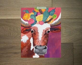 Impression d'art de Longhorn - 8 x 10 - rose et violet - gras cactus - art boho - sud-ouest œuvre d'art - animaux et fleurs - art du texas