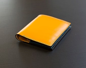 Yellow leather wallet with personalization and colorful stitching