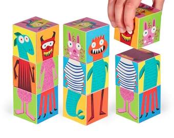 Monsters Blocks 2 - PRINTABLE PDF Toy - DIY Craft Kit Paper Toy - 3 paper blocks - Heads, Arms and Legs  - Birthday Party Favor