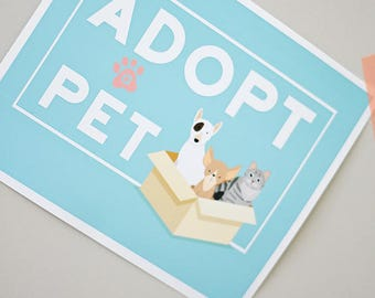 "Puppy Kitten Birthday Party 8""x10"" INSTANT DOWNLOAD Printable Digital File Adopt a Pet, Party Favor Sign Goody Bag Cat, Dog, Bow Wow Meow"