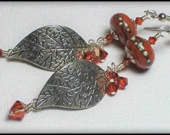 Handmade, Jewelry, Earrings, Beaded, Lampwork, Silver, Brick Red, Red, Earthy, Boho, Artisan, Lampwork Earrings, Leaf, Leaves, Fanceethat