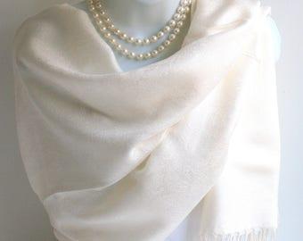 Pashmina Scarf.White Pashmina/Shawl Scarf.Elegant Silk /Pashmina Scarf.Bridal Wrap/Shawl.Evening Shawl/Wrap.Wedding Stole.