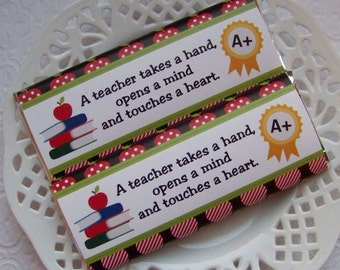 Printable Teacher Appreciation Large Candy Bar Wrappers - Instant Download
