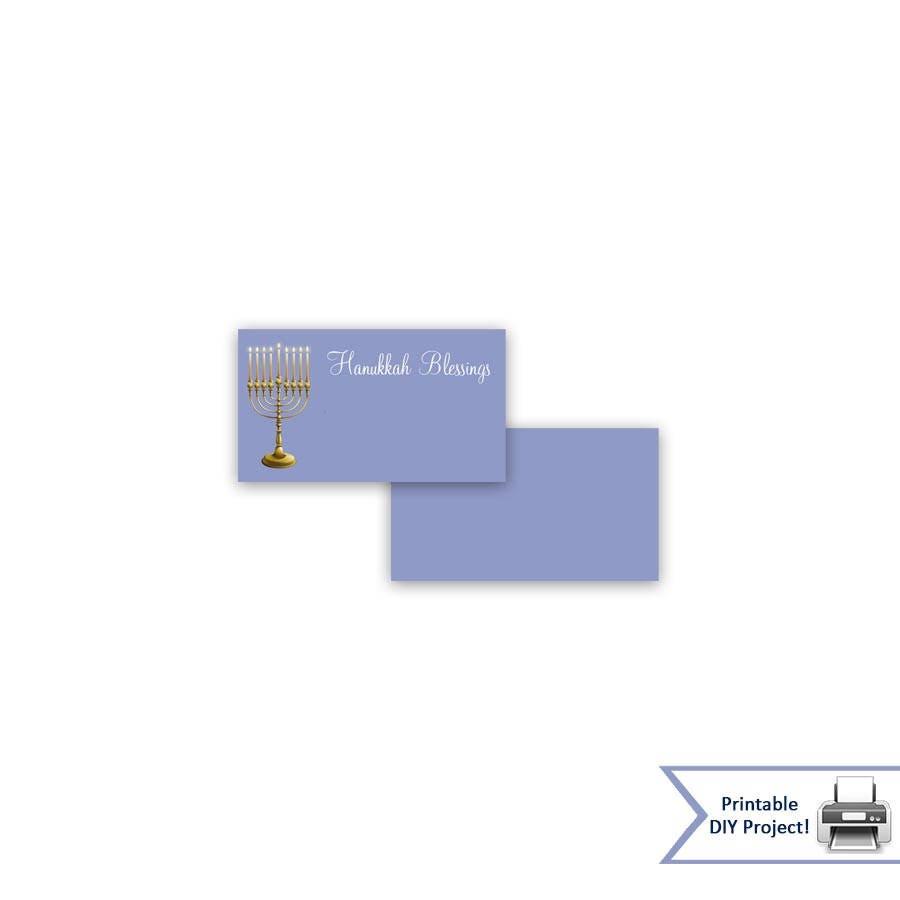 Blue Hanukkah Place Cards Tent Festival Of Menorah Lighting Diagram Zoom