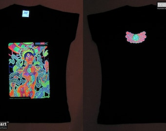 Chakra Girl UV Black Light Fluorescent & Glow In The Dark Phosphorescent Psychedelic Psy Goa Trance Art Club Womens T-shirt