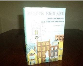 Vintage 1971 Hardcover Book Here's England Ruth McKenney Richard Bransten Third Edition w/Dust Jacket