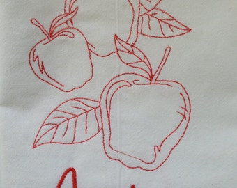 "Large 30"" x 30"" Apples Embroidered Flour Sack Kitchen Towel"