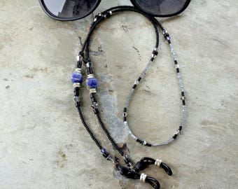 Blue Sodalite Gemstone Glasses Chain with Silver, Eyeglass Chain beaded gemstones, Rustic Sunglasses Holder Chain, Eyeglass holder necklace
