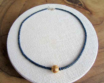 Sapphire and Silver Gold gilded Bead Necklace