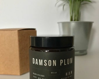 Damson Plum Natural Soy Wax Candle - In Amber Glass Jar 100%