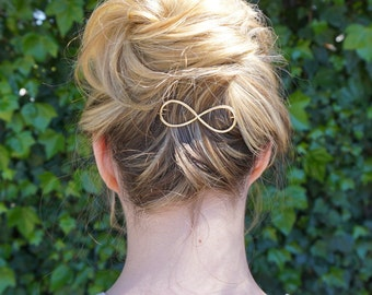 Infinity Golden Hair Clip, Gold Barrette, Gold hair clip, Women hair clip, Cute hair clip, Wedding hair Clip, bridesmaids gift,  Gold Pin