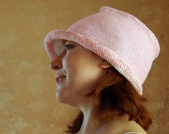 Sun hat, bucket hat, knitted hat, summer hat,  pink hat, crochet hat, crochet waistcoats, hat from the sun, Knitted waistcoats,