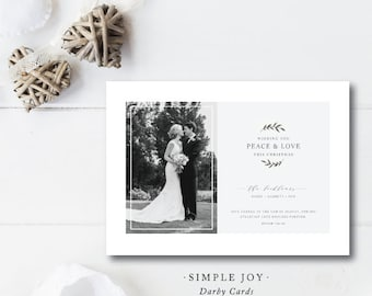 Simple Joy Printed Christmas Cards | Peace and Love | Bride and Groom Photocard | Merry Christmas |  Printed or Printable by DarbyCards