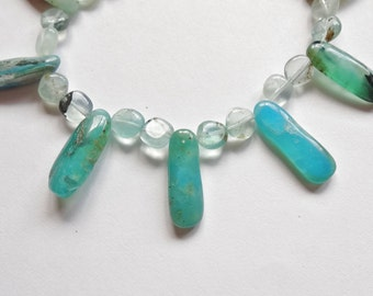 "Natural Genuine Peruvian Blue Opal Freeform Jelly Mixed Shape Drops 16"" strand K1439"