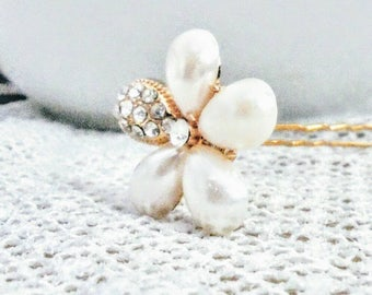 Bridal hair pins, wedding hair pins, pearl and rhinestone hair pins, bridesmaids hair pins, gold Hair pins,