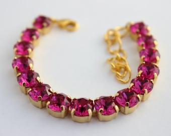 Fuchsia bracelet, Swarovski bracelet, Rhinestone bracelet, Hot pink bracelet, pink and gold bracelet, bridesmaid bracelet, pink wedding FS01