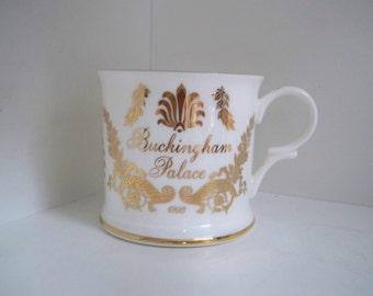Vintage Buckingham Palace China Mug Gold Trim Mug Souvenir English Mug