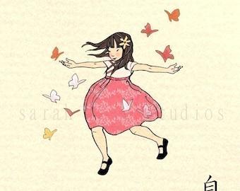 Children's Wall Art Print - Freedom - Girl Kids Nursery Room Decor