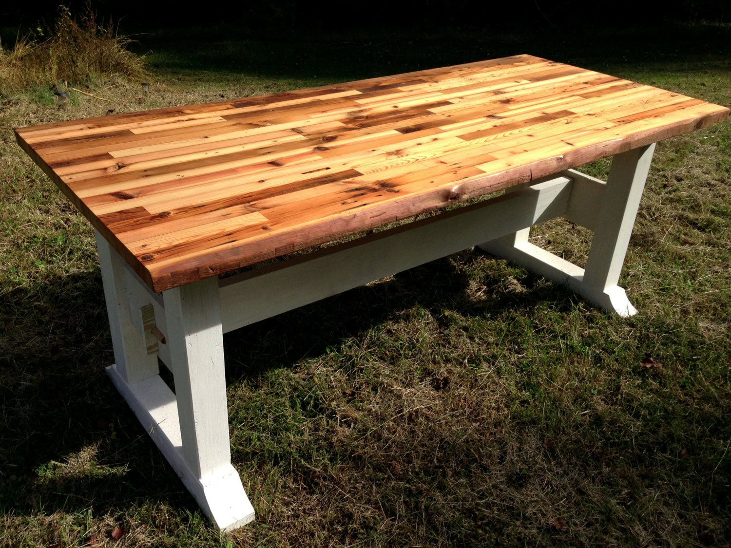 Charming Butcher Block Table Top And Trestle Frame