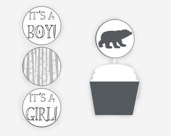 Cupcake Toppers, Woodland Cupcake Toppers, Woodland Baby Shower, Decorations, Bear Cub Baby Shower, Item 210