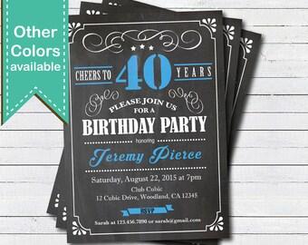 Blue 40th Birthday chalkboard invitation. Man. Cheers to 40 year. Retro black, white blue. Any age. Birthday drinks printable invite. AB135