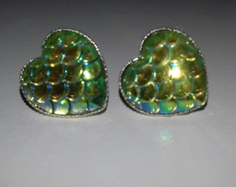 Dragon scales heart earrings