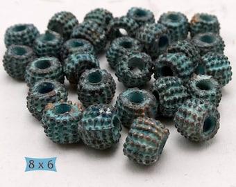 Big Hole Granulated Metal Spacer Beads Antique Patina Finish--10 Pcs. | 38-385-GP-10