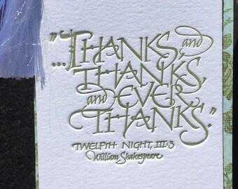 Calligraphic Letterpressed Shakespeare Quote Bookmark