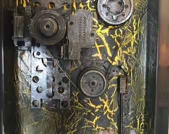 boring through existing safeguards - mixed media framed 17/14cm