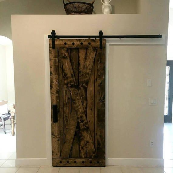 X Brace Barn Door - Sliding Wooden Door - Barn Door with Hardware - Farmhouse Style Door - Rustic Interior Barn Door - Barn Door Package