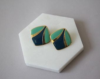 Vintage 1980er Ohrringe / 80er Jahre Ohrstecker / 80er Jahre Emaille Ohrringe / 80er Jahre Marine gold Ohrringe / 80er Jahre geometrische Ohrringe / Ohrstecker