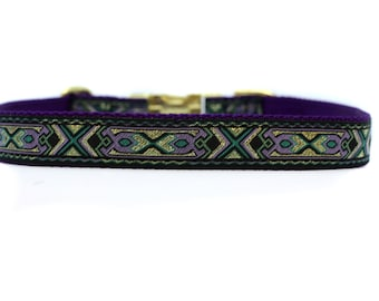 1 Inch Wide Dog Collar with Adjustable Buckle or Martingale in Golden Intensity