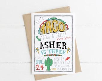 Taco Birthday Invitation, Fiesta Party, Let's Taco Bout Birthdays, Taco Tuesday, Taco Truck Invite Printable, Boy Uno Bday, Southwestern