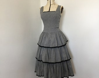 1950's Dress Black and White Gingham Tiered Ruffled Skirt Fit and Flare with Crinoline Sundress 36 Inch Bust Pin Up Style VLV