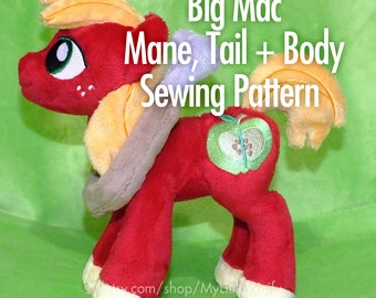 Big Mac Mane, Tail + Body Sewing Pattern (Add-on for my standing pony pattern)