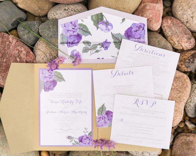 Gold Pocket Wedding Invitation with Florals Roses in Shades of Purple, Lavender with Flower Envelope Liner & Return Address Printing
