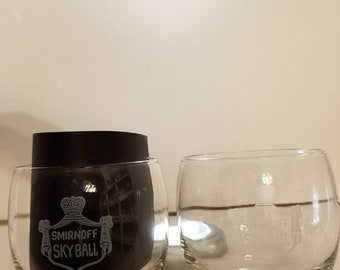 Set of 2 Vintage Collectible 1960'S Smirnoff Vodka Skyball Glasses, Glass. Bar, Man Cave, Mancave, Sky Ball