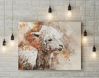 Shaggy Llama Watercolor Print