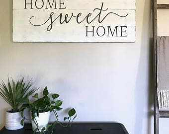 "Home sweet home sign | wood sign | living room decor | mantel decor | farmhouse decor | farmhouse wall decor | 16.5"" x 42"""