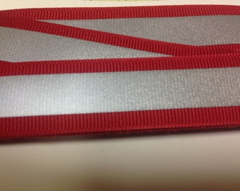 "7/8"" RED - Reflectro 3M 1/2"" Silver Reflective Stripe Grosgrain  Ribbon"