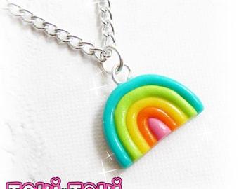Tiny Rainbow Pendant, Small Necklace, Rainbow Necklace, Charm Necklace, Colorful Pendant, Minimalist Necklace, Kawaii Classic Necklace