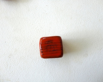 red square bead in ceramic-handmade