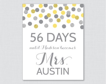 Days Until Mrs Yellow and Silver Bridal Shower Sign Printable - Yellow and Gray Glitter Dots Days Until Wedding Sign - Silver Glitter 0001-Y