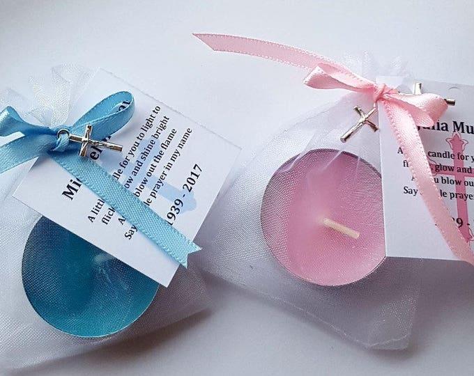 Personalised funeral rememberance memorial tealight candles pack of 10
