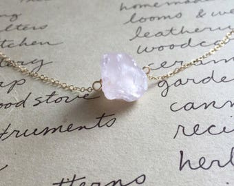 Raw Rose Quartz Necklace - Rose Quartz Necklace  - Raw Crystal Necklace - Rose Quartz - Raw Stone Necklace - Healing Crystal Necklace