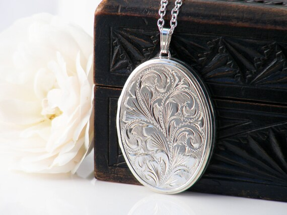Sterling Silver Vintage Locket Necklace   Large Engraved Oval Locket   1976 English JAM Silver - 30 Inch Long Sterling Chain