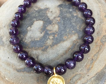 Bracelet // Amethyst, Karen Hill Tribe Gold // Adjustable Wrist Mala