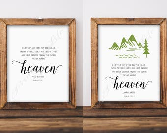 Bible verse. I lift up my eyes to the hills. Psalm 121:1-2. Christian wall art. Instant download print. Printable artwork. Scripture.