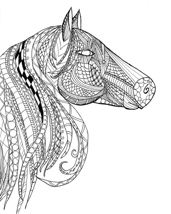 Horse Head Zentangle Adult Coloring Page