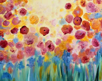 Floral Splendor II, 20 x 20, Original Acrylic Painting on Gallery Wrapped Canvas